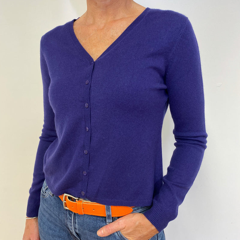 Rich Purple V Neck Cardigan Medium