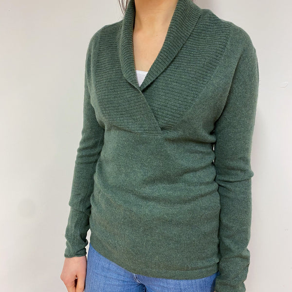 Leaf Green Shawl Collar V Neck Jumper Small