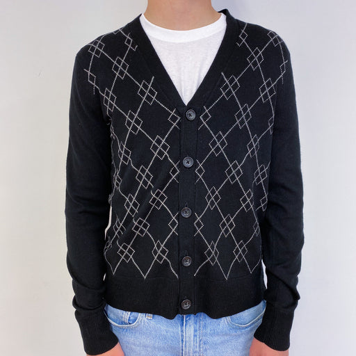 Men's Black Buttoned Cardigan Small