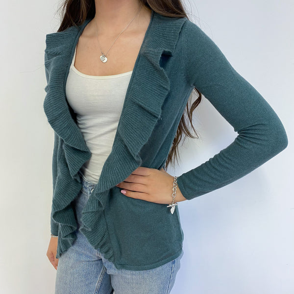 Rich Olive Waterfall Open Cardigan Extra Small