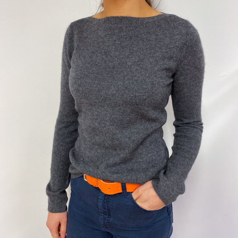 Charcoal Grey Boat Neck Jumper Small