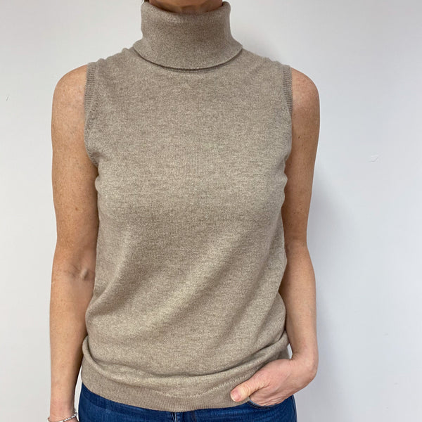 Brand New Biscuit Sleeveless Polo Neck Jumper Medium