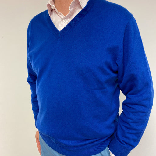 Men's Cobalt Blue V Neck Jumper XL