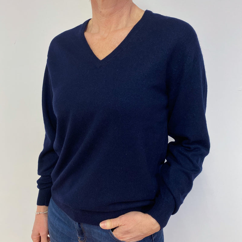 Navy Blue V Neck Vintage Jumper Medium
