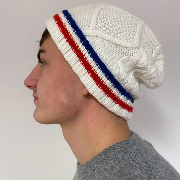 Men's Ivory White Striped Cable Knit Hat