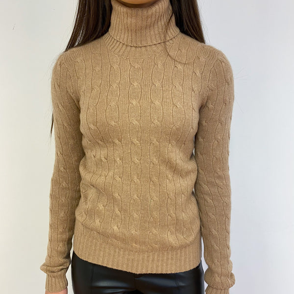 Camel Cable Knit Polo Neck Jumper Extra Small
