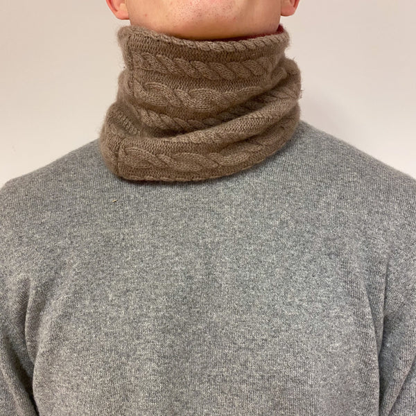 Reversible Soft Brown and Red Cable Knit Neck Warmer Unisex