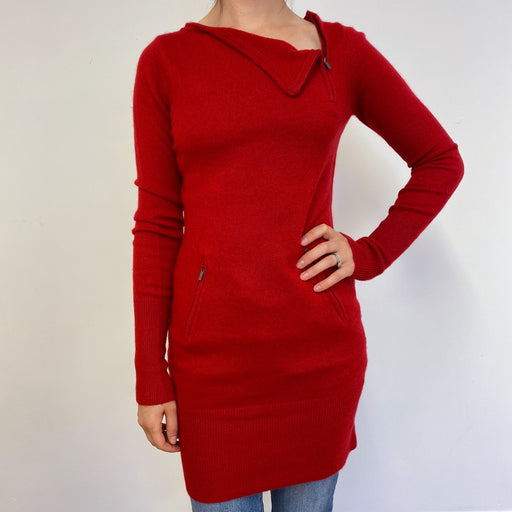 Postbox Red Zip Detailed Dress Small