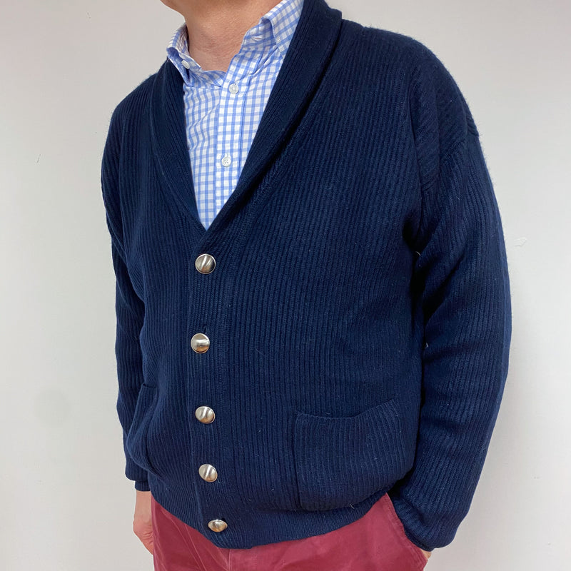 Men's Navy Shawl V Neck Cardigan XXL