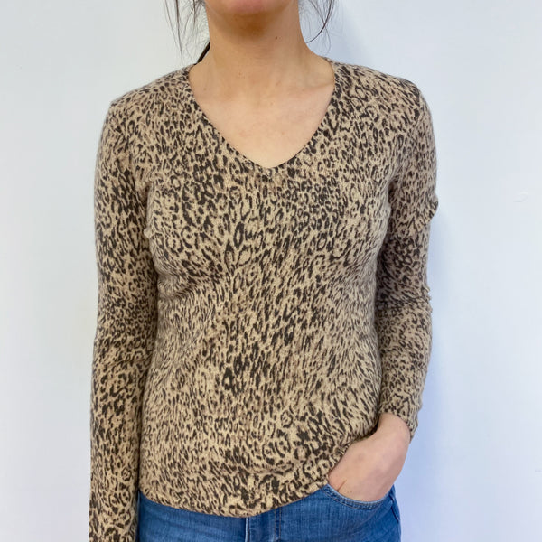 Leopard Print V Neck Jumper Small