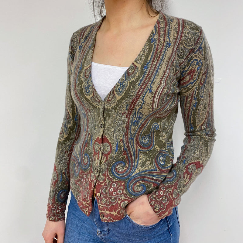 Paisley Pattern V Neck Cardigan Small
