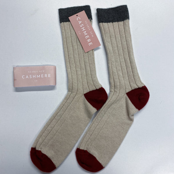 Men's New Beige/Grey/Wine Every Day Cashmere Socks Size 6-8