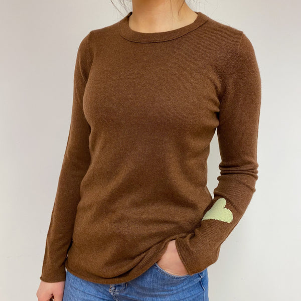 Cinnamon Brown Heart Detailed Crew Neck Jumper Small