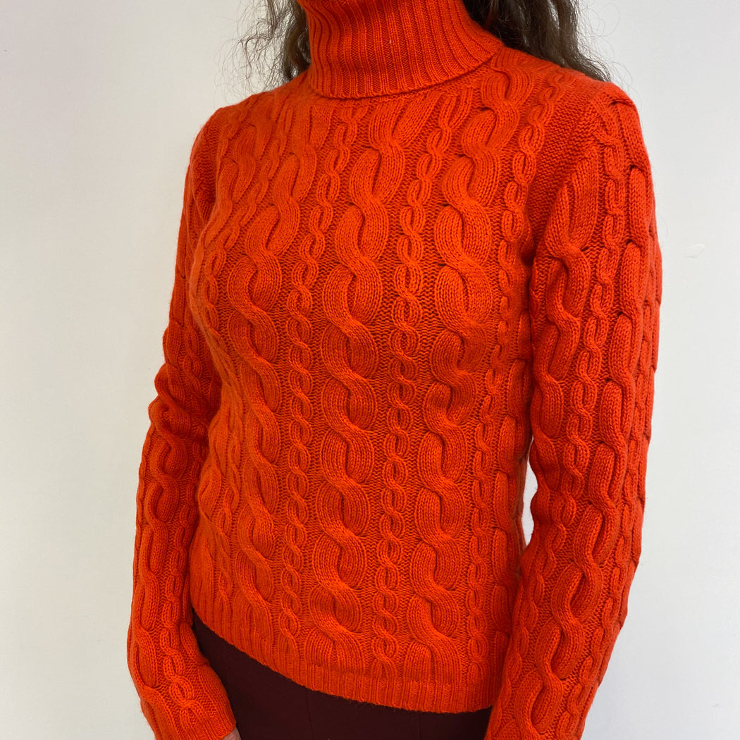 Scarlett Orange Cable Knit Polo Neck Jumper Small