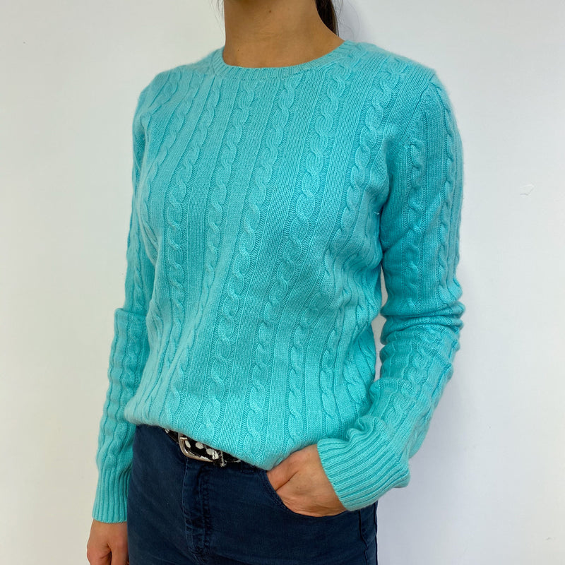 Turquoise Cable Knit Crew Neck Jumper Small