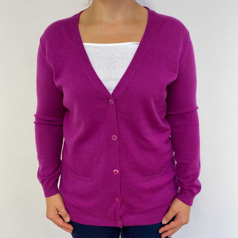 Hobbs Magenta Boyfriend Cardigan Medium