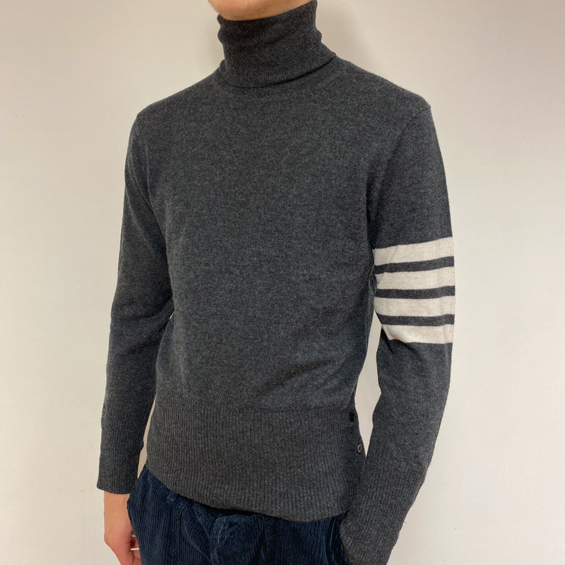 Men's Thom Browne Charcoal Grey Polo Neck Jumper Small