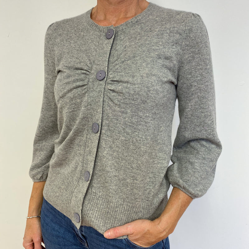Mid Grey Gathered Sleeve Cardigan Medium