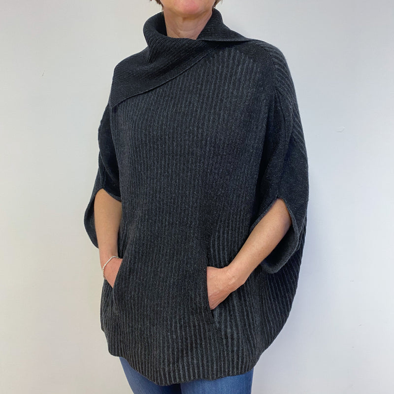 Charcoal Grey Ribbed Cape Style Poncho One Size
