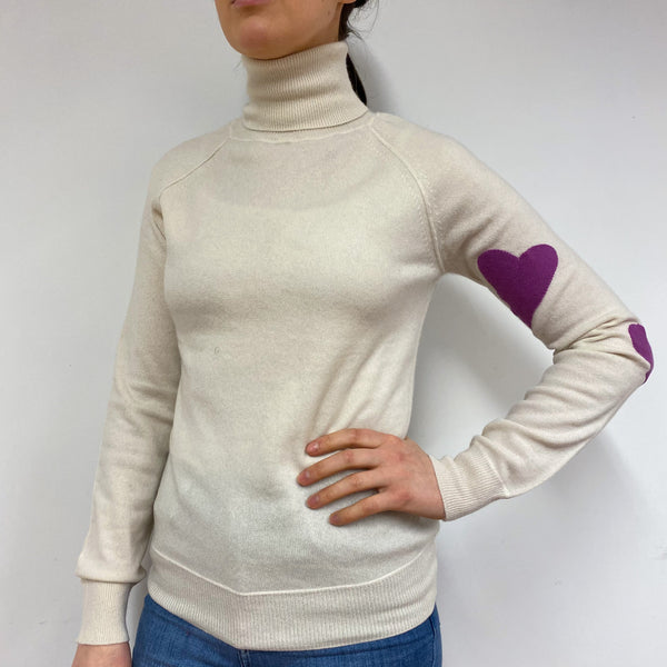 Cream and Magenta Heart Detailed Polo Neck Jumper Small