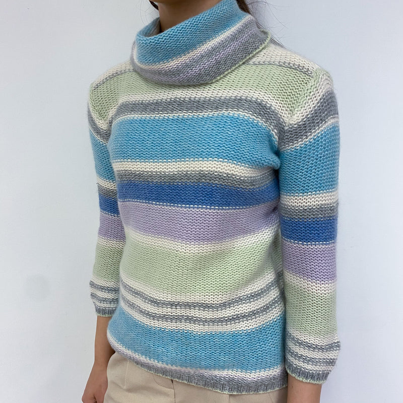 Pastel Striped Polo Neck Jumper Extra Small