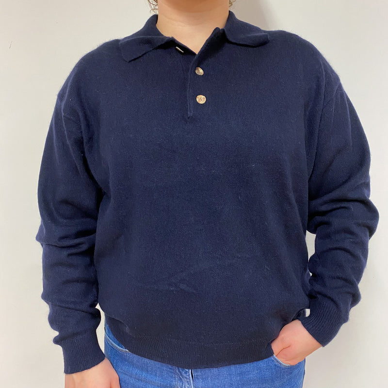 Navy Button Collar V Neck Jumper Large
