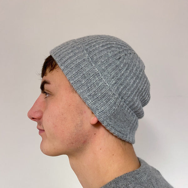 Men's Pale Grey Knit Beanie Hat