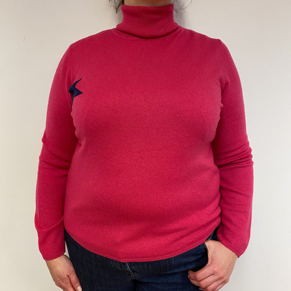 Hot Pink Star Detailed Polo Neck Jumper Extra Large