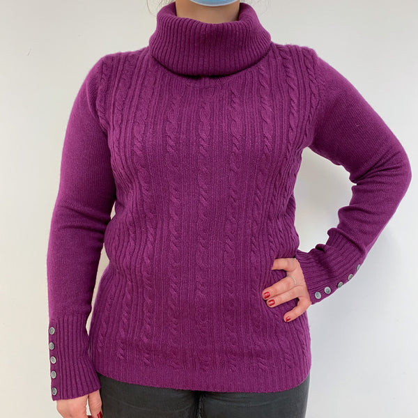 Beetroot Purple Cable Knit Polo Neck Jumper Large