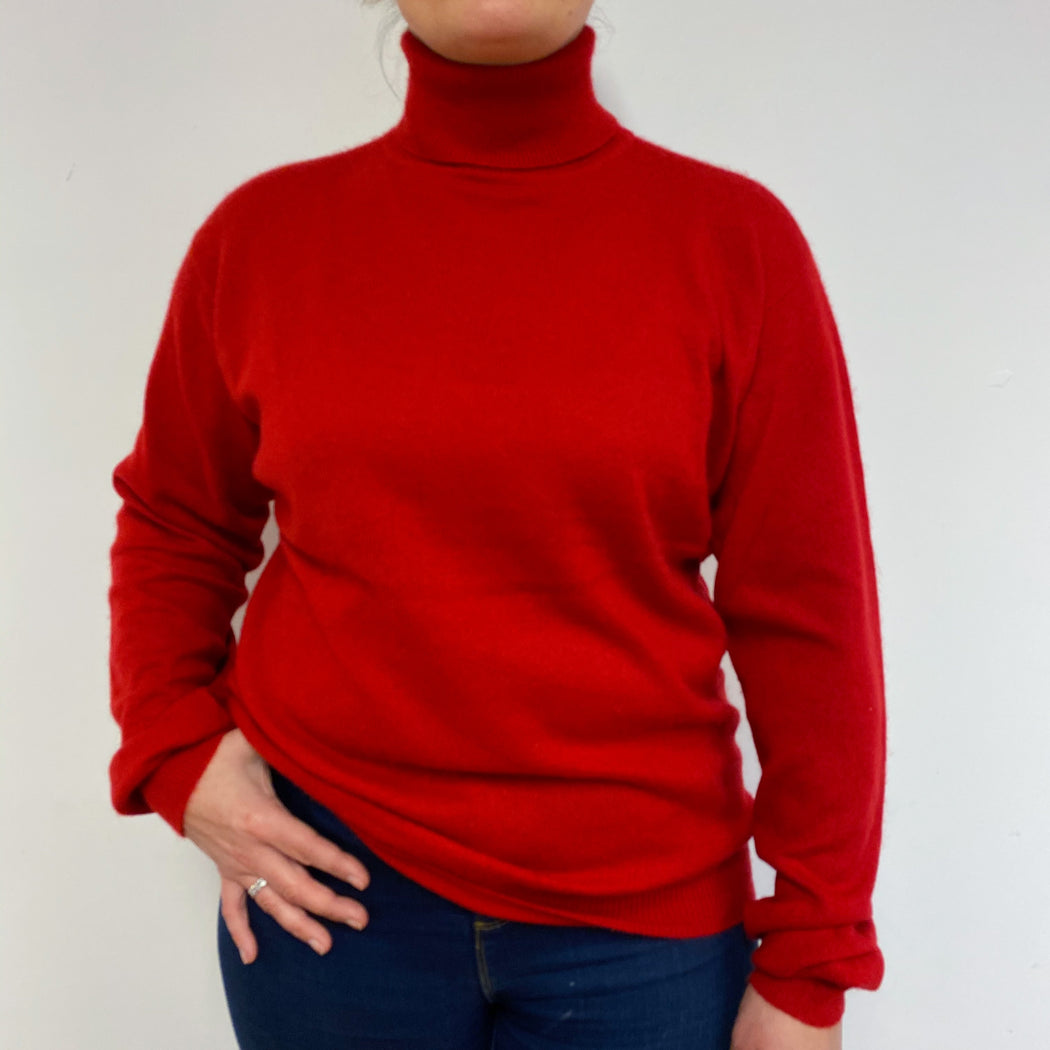 Postbox Red Polo Neck Jumper Large