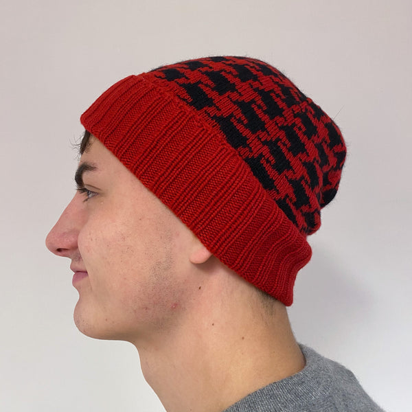 Men's Red and Black Knit Beanie Hat