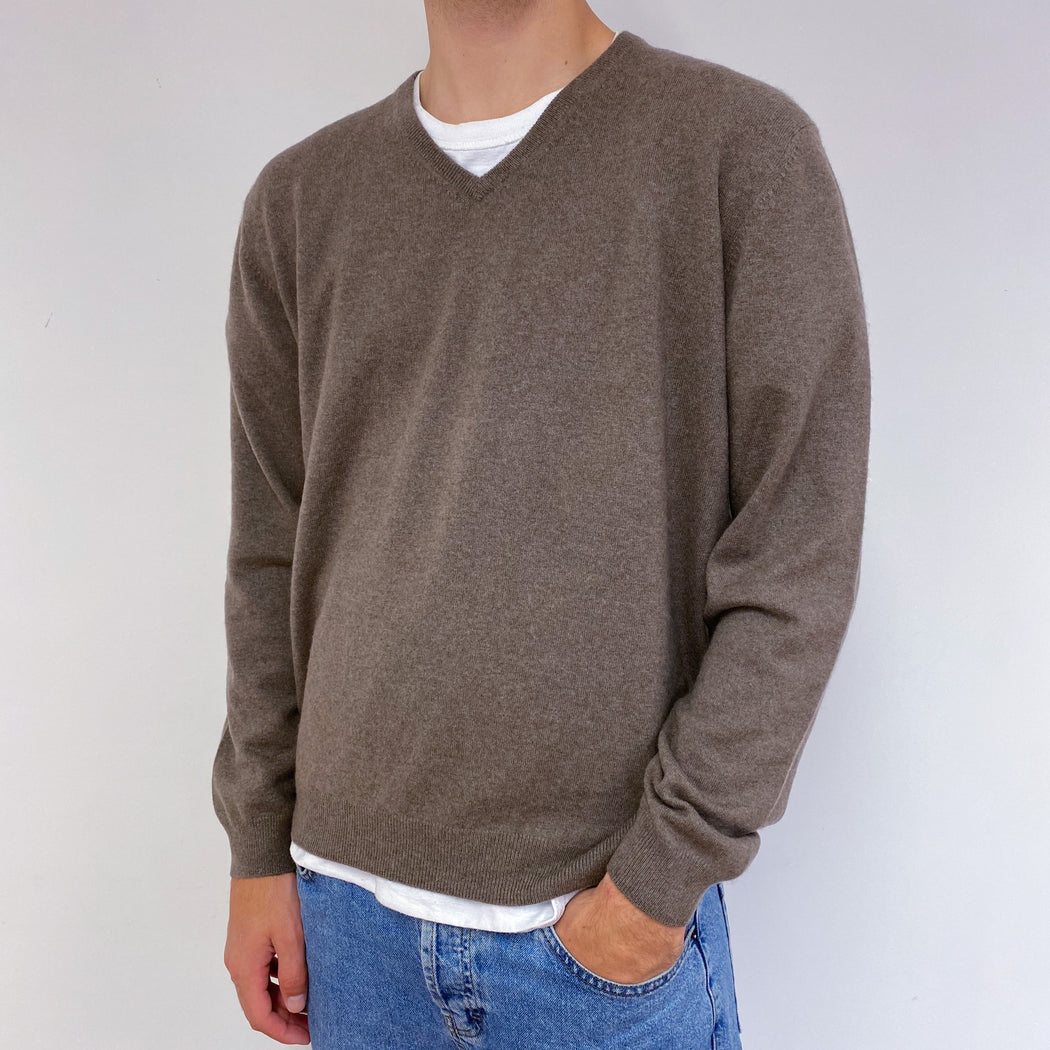 Men's Deep Stone Beige V-Neck Jumper Large