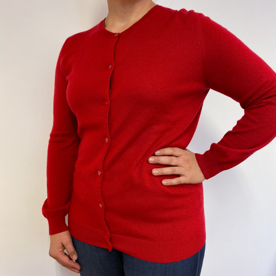Fabulous Red Buttoned Cardigan Large