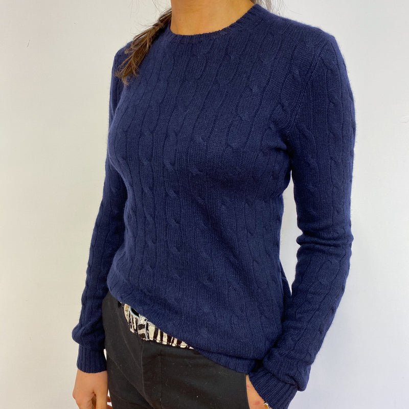 Ralph Lauren Navy Cable Knit Crew Neck Jumper Small