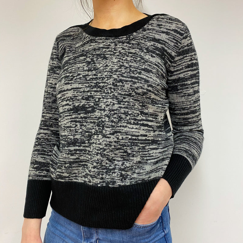 Black and Grey Marl Crew Neck Jumper Small