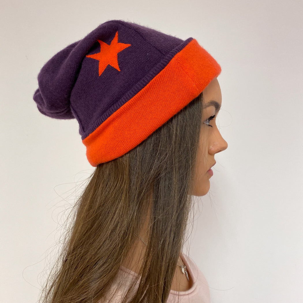 Reversible Purple and Orange Star Detailed Hat