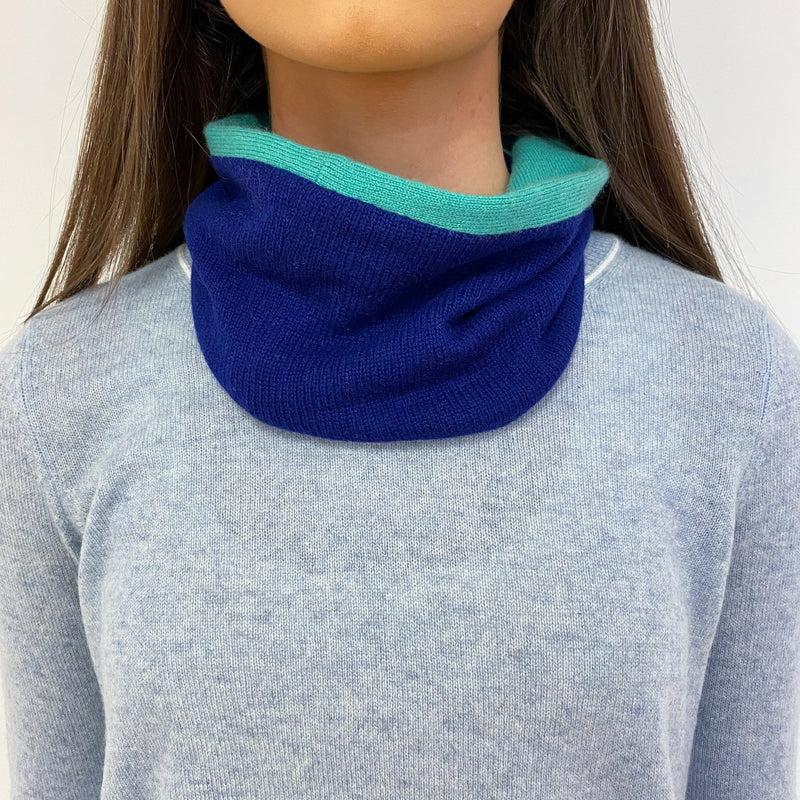 Apple Green and Royal Blue Neck Warmer