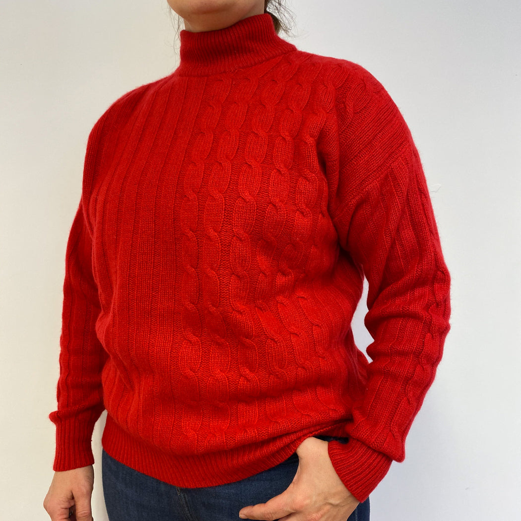 Fantastic Red Cable Knit Polo Neck Jumper Large