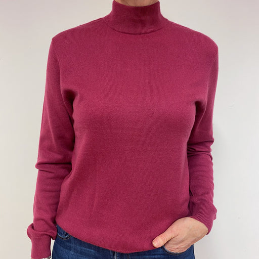 Raspberry Turtle Neck Jumper Medium