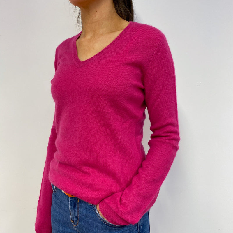 Hot Pink V Neck Jumper Small