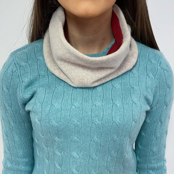 Muted Red and Oatmeal Neck Warmer