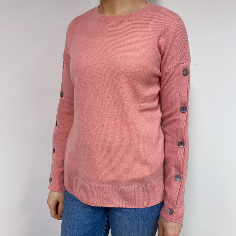 Candy Pink Button Detail Crew Neck Jumper Small