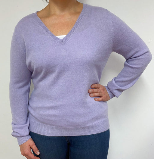 Lilac V Neck Jumper Large
