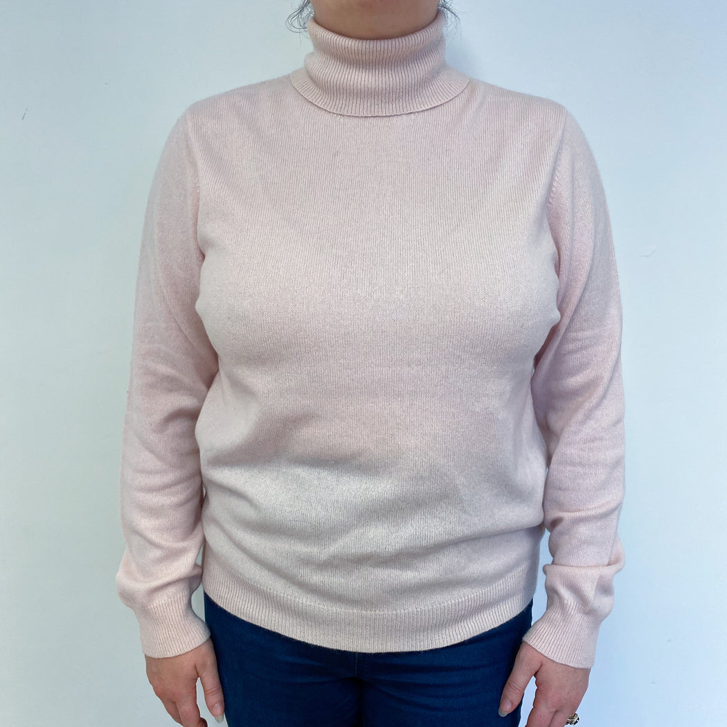 Pale Pink Polo Neck Jumper Large