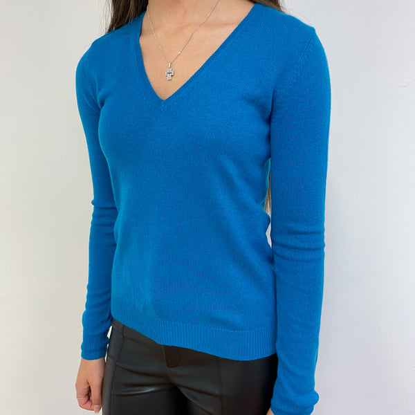Kingfisher Blue V Neck Jumper Extra Small
