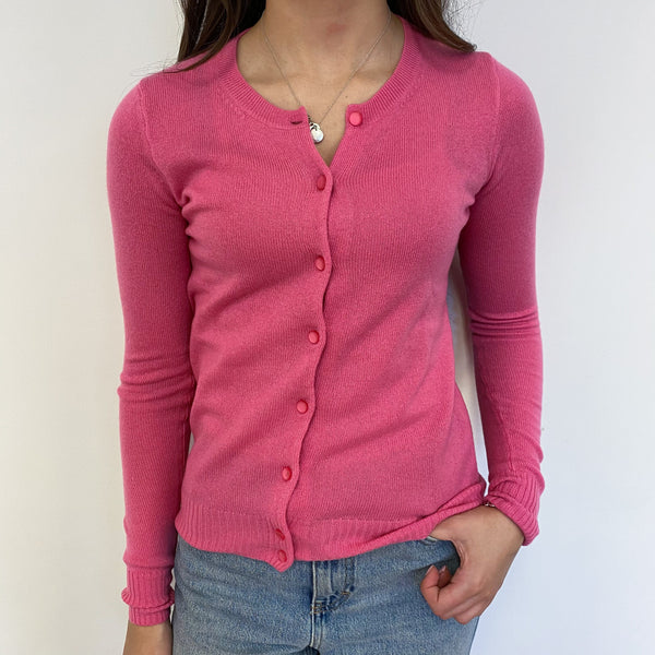Rose Pink Crew Neck Cardigan Extra Small
