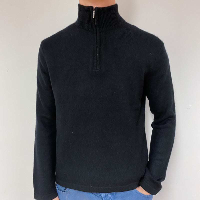 Men's Black Quarter Zip Jumper Medium