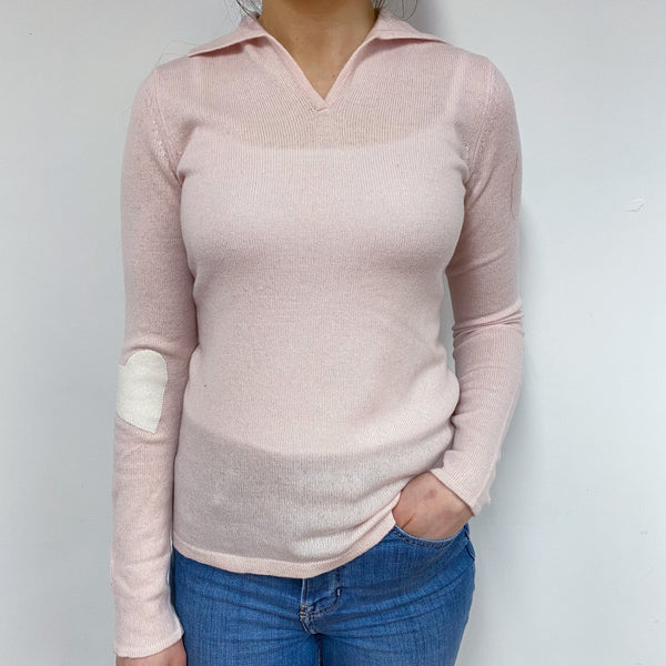 Baby Pink Heart Collared V Neck Jumper Small