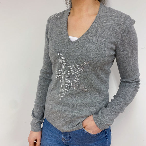 Mid Grey Sparkly V Neck Jumper Small