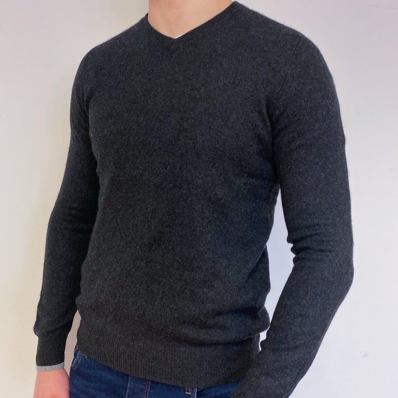 Men's Dark Charcoal Grey V Neck Jumper Medium